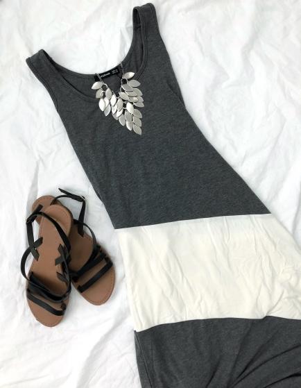 grey racerback colorblock maxi dress from amazon prime
